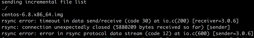 rsync error: timeout in data send/receive (code 30) at io.c(200) [receiver=3.0.6]